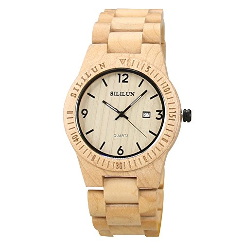 SILILUN Mens Wooden Watch Analog Quartz...