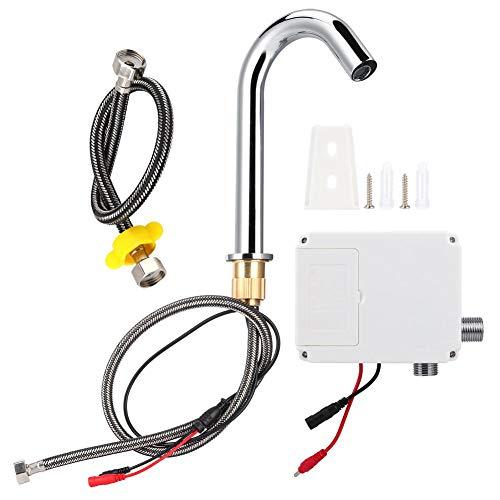 Sensor Wasserhahn, G1/2in Gewinde Automatischer Induktionssensor Wasserhahn Infrarot Einzelkalthahn mit Steuerkasten für berührungslose Reinigung der Hände im Badezimmer(Typ mittlerer Höhe)