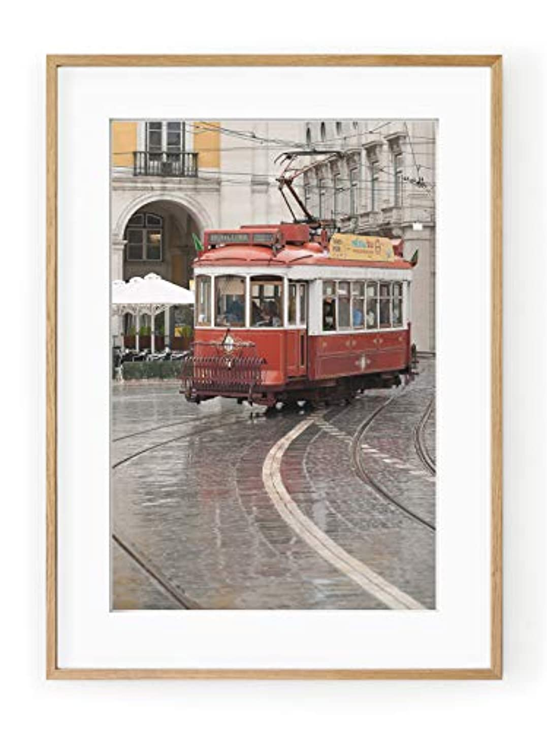Tram de Montreal Natural Solid Oak Frame with Mount, Multicolored, 50x70 pgcunjngo
