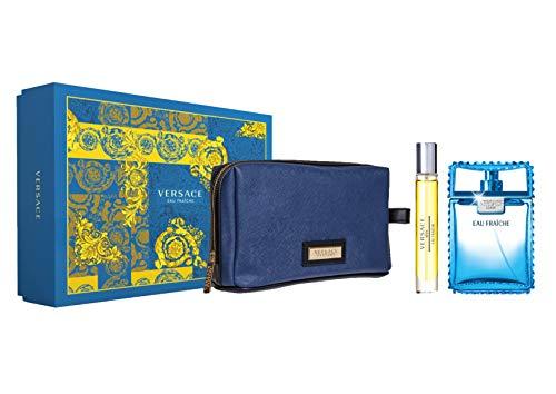 Versace Eau Fraiche for Men 3 Piece Set (3.4 Oz Eau De Toilette Spray + 10ml Travel Spray + Versace Blue Trousse)
