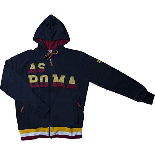 AS Roma Felpa Uomo con Cappuccio Full Zip R13652 (XL, Bordeaux)