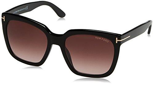 Tom Ford FT0502 01T 55 Gafas de Sol, Negro (Negro LucidoBordeaux Grad), 55.0 Unisex Adulto