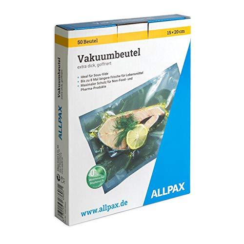 Vakuumbeutel im Karton, 15 x 20 cm, 50 Stück, extra dick, mit Prägung - goffriert (für kammerlose Vakuumierer) - gefertigt aus lebensmittelechten PA/PE, ohne Weichmacher - Materialstärke 150 µm