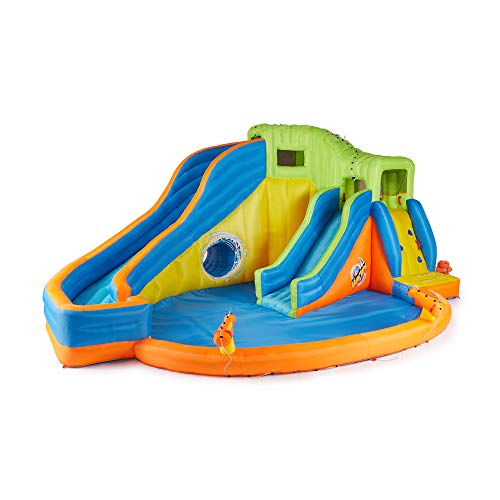 Banzai Pipeline Twist Aqua Park (Motorized Inflatable Air Water Spray Splash Pool Bounce Summer Spring Toy Backyard Fun includes Motor Blower)