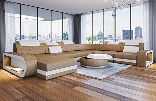 Sofa Dreams XXL Leder Wohnlandschaft Berlin U Form mit Beleuchtung