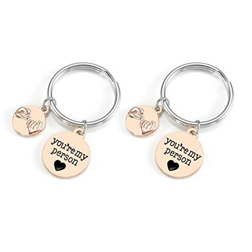 JOVIVI Paar Schlüsselanhänger mit Gravur You're My Person Kleiner Finger Versprechen Charm Freundschaft Partner Geschenke