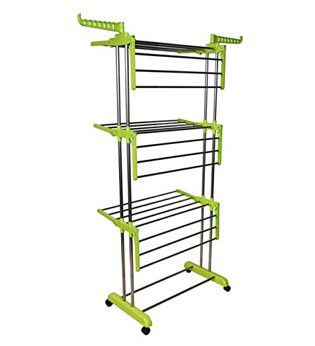 LivingBasics® Heavy Duty Rust-free Stainless Steel Double Pole Cloth Drying Stand/Clothes Dryer Stands/Laundry Racks with Wheels for Indoor/Outdoor/Balcony (LIME GREEN)
