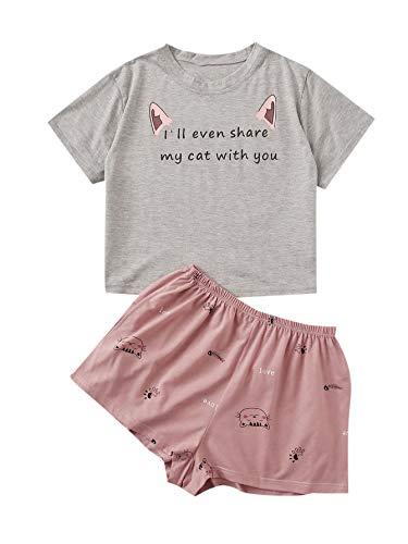 DIDK Damen Sommer Pjama Set Schlafanzüge Hausanzug Casual Loungewear Sleepwear mit Kurz T-Shirts Hose Grau-rosa L