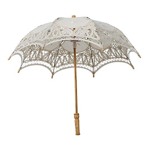 SODIAL(R) Spitze Sonnenschirm Regenschirm Schirm Victorian Spitze Sonnenschirm Hochzeit Braut Umbrella Elfenbein 30x51cm