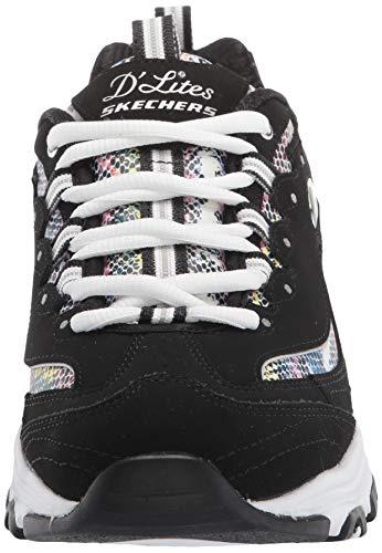 Skechers D'Lites, Zapatillas Mujer, Negro Trubuck Multi Durasnake Borde Blanco, 36.5 EU