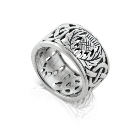 Scottish Thistle and Celtic Knot Wedding Band 11mm Wide Sterling Silver Ring Size 10(Sizes 3,4,5,6,7,8,9,10,11,12,13,14,15)
