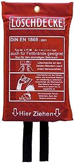 Löschdecke Brandschutzdecke 1 x 1 m, DIN EN 1869:2001, auch für Fettbrände Fettbrand Küche Feuerlöschdecke Auto 100 x 100 cm 1 Stück
