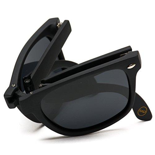 Modern Black Square Foldable Sunglasses with Case (Black Frame/Black Lens)