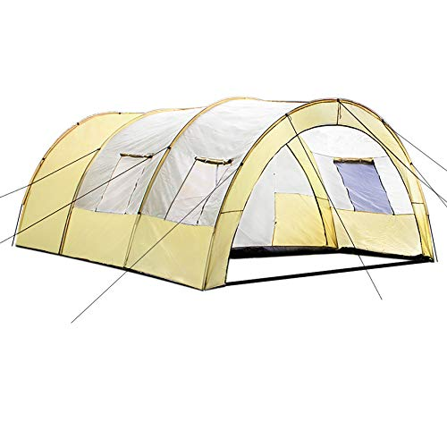 TecTake 800588 XXL Camping Tunnel Tent with Foyer 4-6 persons (Beige Grey | no. 402916)