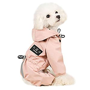 Beirui Waterproof Puppy Dog Raincoats with Hood for Small Dogs – Adjustable Reflective Pet Cat Puppy Dog Rain Jacket with Leash Hole