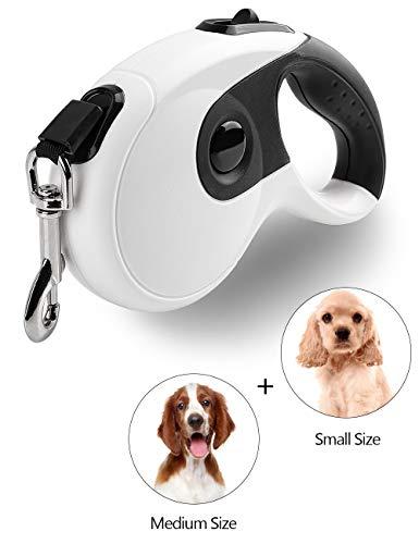 Uhomely Hundeleine, 5 m hundeleine große hunde, verhedderungsfrei, ausziehbare Hundeleine für kleine, mittelgroße Hunde bis zu 40 kg – Anti-Kau-Nylonband mit Einhand-Bremse, Schloss, Weiß