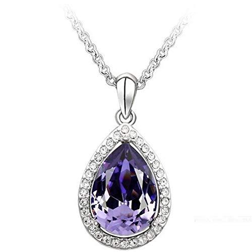 FKJSP Sencillo de Big Water Drop Colgante Collar de Plata de Color púrpura Collar de Cristal de Bohemia de la joyería for la Novia (Metal Color : Purple)