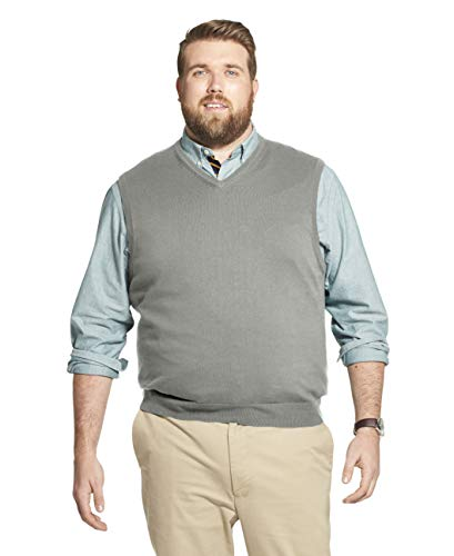 IZOD Men's Big & Tall Big Premium Essentials Solid V-Neck 12 Gauge Sweater Vest, Light Grey Heather, 4X-Large Tall