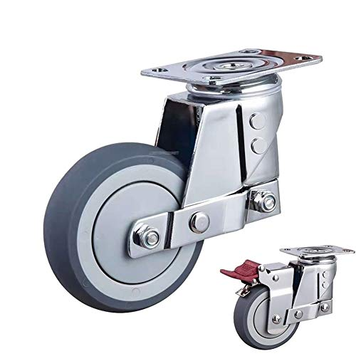 Swivel Caster Silent-demping universeel wiel met veer TPR wiel anti-ijsmist caster voor grondbewegingsmachines poort industrie casters 5 inch Met brake
