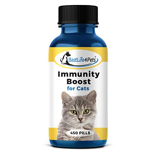 Immunity Boost for Cats Supplement – Proven Immune System Support Helps Your Feline's Respiratory and Digestive System Fight Off Colds and Infections – All Natural, No Fuss Remedy (450 pills)