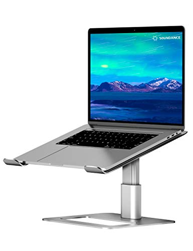 Soundance Adjustable Laptop Stand for Desk, Computer Stand, Ergonomic Laptop Riser Holder Compatible with 10 to 17.3 Inches Notebook PC Computer, Aluminum Silver