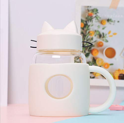 XKMY Taza de agua de 400 ml con forma de gato, portátil, para té, café, zumo, botella de agua con tapa y mango (capacidad: 400 ml, color: blanco)