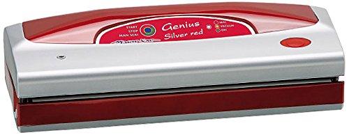 Magic Vac Genius Silver - Envasadora al vacío (Rojo, Plata, 800 mbar, 3,15 kg, 390 x 140 x 100 mm, 230 V, 50 Hz)