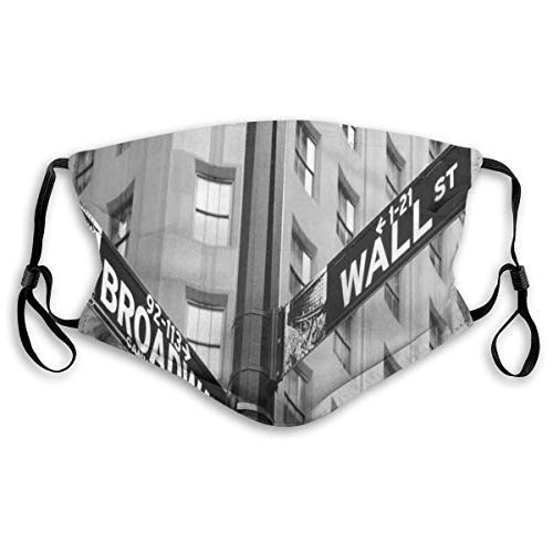 YYTT8 Gesichtsbedeckung Mundschutz Straße Zeichen der Kreuzung von Wall Street und Broadway Finance Art Destinations Photo Theme