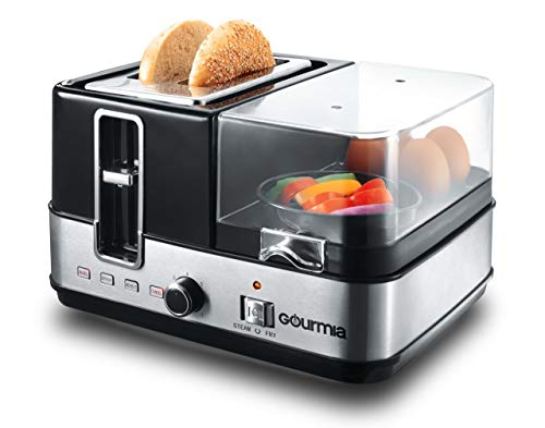 Gourmia GBF370 3 in 1 Breakfast Station Center - 2 Slice Toaster - Egg Cooker and Poacher - Vegetable, Bacon and Meat Steamer - One Touch Controls - 1450W - Black/Stainless Steel