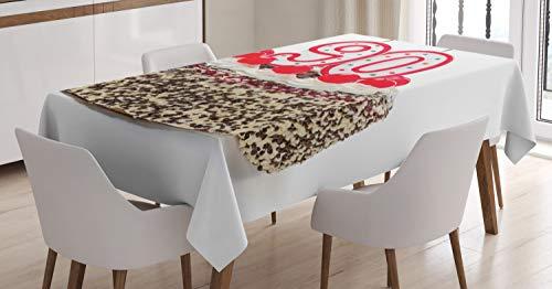 ABAKUHAUS 90e Anniversaire Nappe, Bougies Cerises Savoureux, Linge de Table Rectangulaire pour Salle à Manger Décor de Cuisine, 140 cm x 200 cm, Rouge, Marron, Blanc