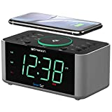 Emerson 目覚まし時計 ラジオとQI ワイヤレス電話充電器 Bluetooth付き iPhone Xs Max/XR/XS/X/8/Plus 10W Galaxy S10/Plus/S10E/S9対応 全Qi対応電話対応 ER100202