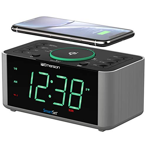 Emerson Alarm Clock Radio and QI Wireless Phone Charger with...
