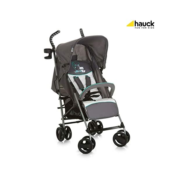 New Hauck Speed Plus Umbrella Compact Folding Grey Pushchair Buggy Pram+Raincover in Forest Fun Hauck Adjustable back rest Lockable and swiveling front wheels 5-point harness system 1