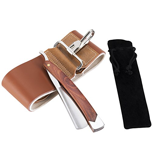 AKUNSZ Kit navaja de Afeitar Tradicional con acero inoxidable Cuchilla de afeitar tradicional recto Peluquería maquinilla de afeitar plegable con Cinturón de afeitar y bolsa