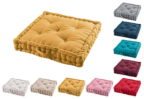TIENDAEURASIA Cojines de Suelo - 100% Algodón Lisa - Ideal para sillas, Bancos, palets, Suelos - Uso Interior y Exterior (Mostaza, 60 x 60 x 10 cm)