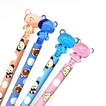 4Pcs 4 Colors Cute Kawaii Lovely Bear Press Mechanical Pencil Writing Student Stationery Automatic Pencil For Draft Drawing Carpenter Crafting Art Sketching Party Gifts Office Supply 0.7mm