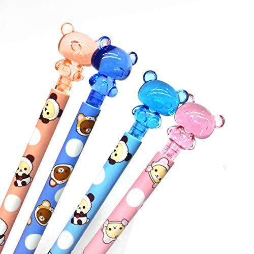 4Pcs 4 Colors Cute Kawaii Lovely Bear Press Mechanical Pencil Writing Student Stationery Automatic Pencil For Draft Drawing, Carpenter, Crafting, Art Sketching Party Gifts Office Supply 0.7mm