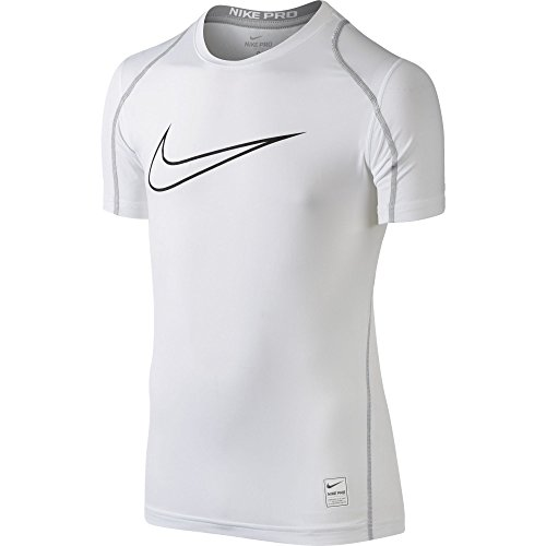 NIKE Boys' Pro Fitted HBR Short Sleeve Shirt, White/Matte Silver/Black, Medium