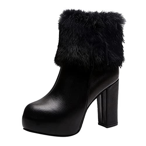 Fullwei Platform Boot for Women Women Round Toe Wedge Winter Booties Ladies Cute Chunky High Heel Snow Ankle Boot Zipper Slip On Boot Causal Walking Dress Shoe (Black  6-6.5)