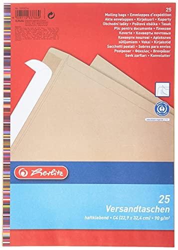 Herlitz Versandtasche C4 90 g Haftklebend, Recyclingpapier, blauer Engel, 25-er Packung, eingeschweißt, braun