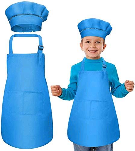 WELLXUNK® Niños Delantal y Gorro de Cocinero, Infantil Delantal con 2 Bolsillos, Ajustable Delantales de Cocina, NiñOs Cocinando o Hecho a Mano/Ropa de Dibujo para NiñOs De Kindergarten - Azul