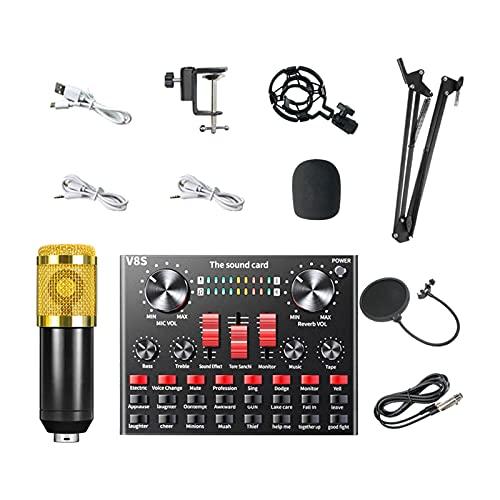 Amagogo Kit de Microphone à condensateur BM-800 avec Support Antichoc en métal pour Carte Son en Direct et Filtre Anti- Double Couche pour Le Chant - Or