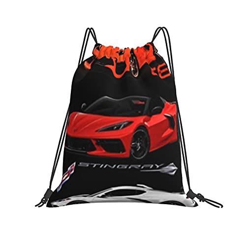QUEMIN Mochila con cordón Mochila Corvette C Muscle Cars Motor Central HP Mochila de Gimnasio para Senderismo Equipo de natación Entrenamiento Yoga Gimnasio Ejercicio al Aire Libre