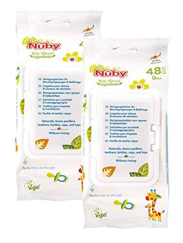 Nûby - Toallitas para Limpiar Chupetes y Mordedores, 96 Toallitas, con Ingredientes Naturales, Blanco