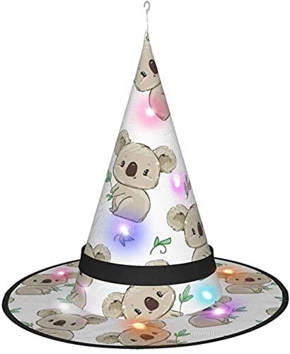 KINGAM Bonito sombrero de bruja Koala con luz, para disfraz de Halloween, disfraz de disfraces y cosplay