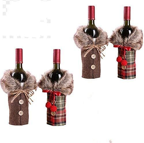 Sehrgud 4 x weihnachtliche Weinflaschenabdeckungen für Weihnachtsflaschen, Plaid Weinflasche, Kleidung für Hochzeit, Party, Dekoration 17 * 24cm Rot+Grau