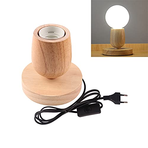 Lámpara de mesa de madera, casquillo E27, cable de 1.5m con interruptor, hasta 60W, lámpara decorativa retro industrial Edison, para salón, dormitorio y oficina, estudio,cafetería, bar(D)