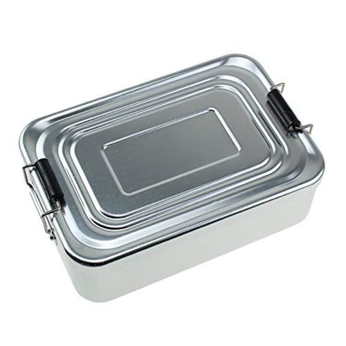 SODIAL Brotdose Au?en-Brotdose Bento Box Tragbare Brotdose Lunch Box mit Gro?er Kapazit?t Aluminium Legierung-Silber