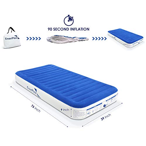 EnerPlex No Outlet Needed Luxury Series Twin Air Mattress with High Speed Wireless Pump Luxury Twin Size Airbed Inflatable Blow Up Bed for Home Camping Travel 2-Year Warranty