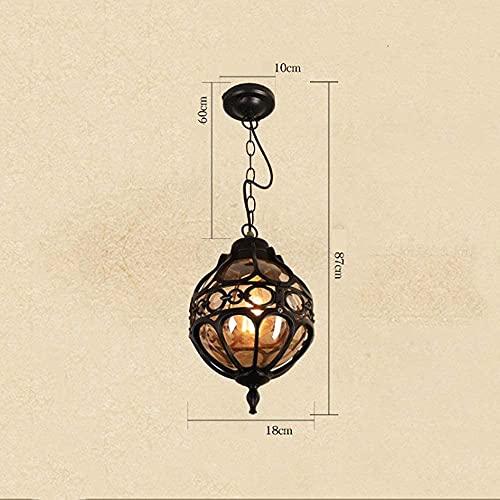 CAIMEI Lámpara Colgante Jaula de Metal Lámpara Colgante Al Aire Libre Pérgola Impermeable Lámpara Colgante de Techo de Jardín Linterna de Vidrio Pérgola Porche Lámpara de Iluminación E27 Blac,Trompet